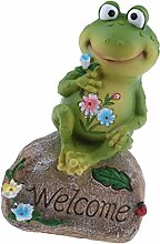 Baoblaze Willkommen Frosch auf Stein Gartenfigur