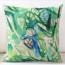 Baozengry Dicke Baumwolle Kissen Sofa Kissen Kissen Kissen Pflanze Pflanzen Frisch Garten Grün Hand-Painted Aquarell, 45 X 45 (Kissenbezug Kissen Core), B