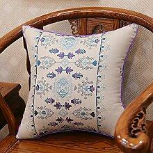 Baozengry Ein Großes Sofa Kissen Kissen Bestickt Taille Kissen Baumwolle Stickerei Kissenbezug Bett Auf Core, 45 X 45 Cm (Kissenbezug Kissen Core), Bettwäsche Grau Geometrische Links