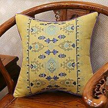 Baozengry Ein Großes Sofa Kissen Kissen Bestickt Taille Kissen Baumwolle Stickerei Kissenbezug Bett Auf Core, 45 X 45 Cm (Kissenbezug Kissen Core), Bettwäsche Gelbe Geometrische Links