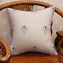 Baozengry Ein Großes Sofa Kissen Kissen Bestickt Taille Kissen Baumwolle Stickerei Kissenbezug Bett Auf Core, 45 X 45 Cm (Kissenbezug Kissen Core), Bettwäsche Grau Taschenlampe
