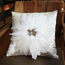 Baozengry Heimtextilien Schwarz Weiß Sofa Kissen Kissen Kissen, Bestehend Aus Einem Kern Von Europäischen Luxus, 45 X 45 Cm (Mit Core), Weiße Blume