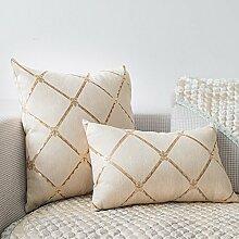Baozengry Im Europäischen Stil Wohnzimmer Sofa Rückenpolster Kissen Kissen Core Haushalt Taille Kissen Bett Hohe Rückenlehne Tuch, 50 X 50 Cm Kern, Kaffee
