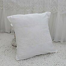 Baozengry Koreanischen Sommer Baumwolle Baumwolle Sofa Kissen Kissen Kissen Square Office Einfach, 45 X 45 Cm, Weiß