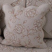 Baozengry Rückenpolster Bett Tuch Kissen Siesta Kissen Büro Taille Kissen Rose, 45 * 45 Cm Kern, Barbed Rose Khaki
