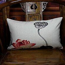 Baozengry Sofa Malerei Lotus Rot Baumwolle Kissen