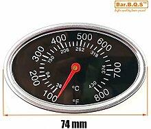 Bar.B.Q.S 01T12 7.4cm Barbecue Smoker Grill Edelstahl Thermometer Fahrenheit Temperatur Temperaturanzeige