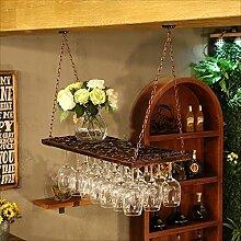bar suspension Bar counter Weinregale Restaurant Haushalt Weinglas Rack kopfüber Retro Eisen Kunst Weinregal ( Farbe : B , größe : 80*31cm )