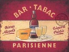 Bar Tabac - Bieres Alcools, Liköre und Pastis. Parisienne Bier und Gläser. Französisch. Alt vintage für die küche, haus, haus oder pub oder Café Metall/Stahl Wandschild - 20 x 30 cm