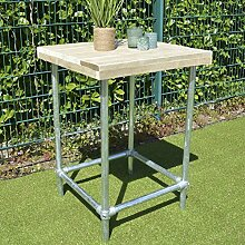 Bar Tisch Möbel Bauholz Wasserrohre 110x80x80cm natur Kleinmöbel