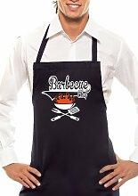 Barbecue Chef - Zweifarbig - Grillschürze Schwarz / Orange-Weiss