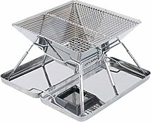 Barbecue Grill, Portable Edelstahl Holzkohle Barbecue Camping Outdoor BBQ Utensil 31 * 31 * 22cm