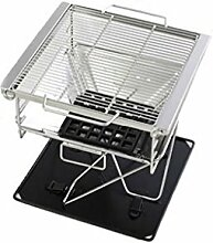 Barbecue Grill, Portable Edelstahl Holzkohle Barbecue Camping Outdoor BBQ Utensil - 42X34X36cm