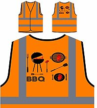 Barbeque Bbq Grill Essen Personalisierte High Visibility Orange Sicherheitsjacke Weste m875vo