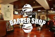 Barber Shop Fenster Aufkleber Aufkleber Hair Salon Art, 2) White, Large 110 cm x 85 cm