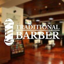 Barber Shop Fenster Aufkleber Aufkleber Hair Salon Art, 2) White, Small 50 cm x 25 cm