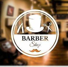 Barber Shop Fenster Aufkleber Aufkleber Hair Salon Art, 2) White, Large 60 cm x 60 cm