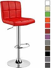 Barhocker 1 er Barstuhl Tresenhocker Stuhl drehbar und höhenverstellbar Tresen Hocker Kunstleder Rot 9171-1