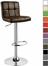 Barhocker 1 er Barstuhl Tresenhocker Stuhl drehbar und höhenverstellbar Tresen Hocker Kunstleder Braun 9106-1