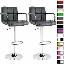 Barhocker 2 x Grau, verchromter Stahl und hochwertiger Kunstleder, höhenverstellbarer Tresenstuhl Bar Hocker