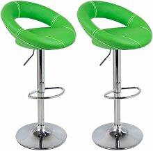 Barhocker 2 x Grün, verchromter Stahl und hochwertiger Kunstleder, höhenverstellbarer Barstuhl Bar Hocker, 9194