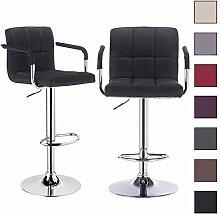 Barhocker 2 x Schwarz, verchromter Stahl und hochwertiges Leinen, höhenverstellbarer Tresenstuhl Bar Hocker BH59sz-2