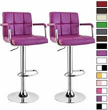 Barhocker 2 x Violett, verchromter Stahl und hochwertiger Kunstleder, höhenverstellbarer Tresenstuhl Bar Hocker