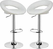 Barhocker 2 x Weiß, verchromter Stahl und hochwertiger Kunstleder, höhenverstellbarer Barstuhl Bar Hocker, 9117