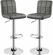 Barhocker 2er Grau, verchromter Stahl und hochwertiger Kunstleder, höhenverstellbarer Barstuhl Tresen Hocker, BS9167