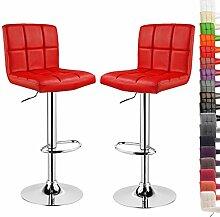 Barhocker 2er Rot, verchromter Stahl und hochwertiger Kunstleder, höhenverstellbarer Barstuhl Tresen Hocker, BS9171