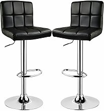 Barhocker 2er Schwarz, verchromter Stahl und hochwertiger Kunstleder, höhenverstellbarer Barstuhl Tresen Hocker, BS9107