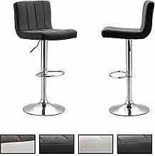 Barhocker 2er Set LASSE Barstuhl Tresenhocker mit Fußablage, Metallgestell verchromt, höhenverstellbar, Lederimitat Stoff in grau / schwarz