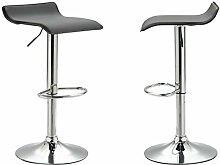 Barhocker 2er-Set PIEGA Barstuhl Tresenhocker mit Fußablage höhenverstellbar, Metallgestell verchromt, in schwarz
