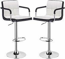 Barhocker 2er Set, verchromter Stahl und hochwertiger Kunstleder, höhenverstellbarer Tresenstuhl Bar Hocker 2 farbig Weiss+Schwarz BH16wss-2