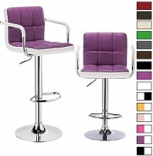 Barhocker 2er Set, verchromter Stahl und hochwertiger Kunstleder, höhenverstellbarer Tresenstuhl Bar Hocker 2 farbig Violett+Weiss BH16vlw-2