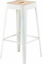 Barhocker im Industriedesign aus weißem Metall
