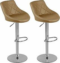 Barhocker mit Lehne Barstuhl 2er-Set Küchenhocker Lounge Hocker Stuhl mit Kunst-PU-Leder bezogen verchromter Fuß stufenlos höhenverstellbar Cappuccino
