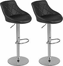 Barhocker mit Lehne Barstuhl 2er-Set Küchenhocker Lounge Hocker Stuhl mit Kunst-PU-Leder bezogen verchromter Fuß stufenlos höhenverstellbar Schwarz