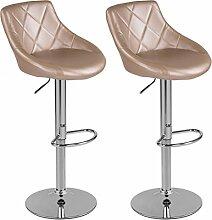 Barhocker mit Lehne Barstuhl 2er-Set Küchenhocker Lounge Hocker Stuhl mit Kunst-PU-Leder bezogen verchromter Fuß stufenlos höhenverstellbar Goldfarben