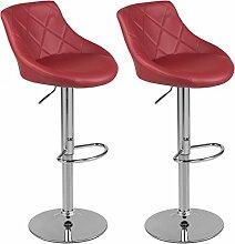Barhocker mit Lehne Barstuhl 2er-Set Küchenhocker Lounge Hocker Stuhl mit Kunst-PU-Leder bezogen verchromter Fuß stufenlos höhenverstellbar Weinro