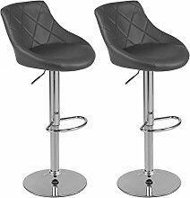 Barhocker mit Lehne Barstuhl 2er-Set Küchenhocker Lounge Hocker Stuhl mit Kunst-PU-Leder bezogen verchromter Fuß stufenlos höhenverstellbar Dunkelgrau