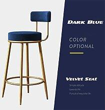 Barhocker mit Rückenlehne | Elegante dunkelblaue