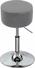 Barhocker Sitzhocker 1er Set Grau, verchromter Stahl und hochwertiger Kunstleder, höhenverstellbarer Barstuhl Bar Hocker Drehhocker Küchenhocker, BH14gr-1