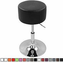 Barhocker Sitzhocker 1er Set Schwarz, verchromter Stahl und hochwertiger Kunstleder, höhenverstellbarer Barstuhl Bar Hocker Drehhocker Küchenhocker, BH14sz-1