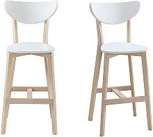 Barhocker skandinavisch Weiß und Holz 65cm