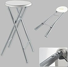 Barhocker XL Hocker Klapphocker Klappstuhl Stuhl Hoch Faltbar Metall Weiß Grau