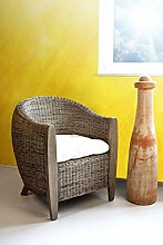 Bari Rattansessel Clubsessel Loungesessel Sessel palm skin inkl. Sitzkissen Armlehnstuhl