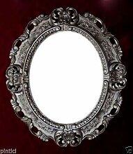 Barock Bilderrahmen +Glas Antik Silber Oval