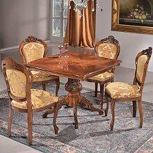 Barock Esstischgruppe in Beige gemustert und Nussbaum Tisch 95 cm breit (5-teilig)