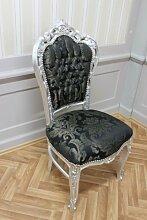 Barock Esszimmer Stuhl Blatt silber Blumenmuster schwarzer Stoff